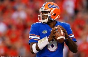 University of Florida quarterback Malik Zaire throws a pass against the Georgia Bulldogs- Florida Gators football- 1280x853