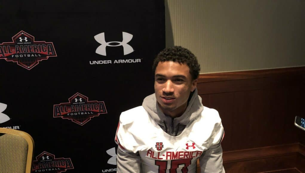 American Heritage receiver Anthony Schwartz fields questions from reporters at the Under Armour All-American Game- Florida Gators recruiting- 1280x960