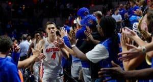 University of Florida Gators guard Egor Koulechov celebrates the Florida Gators 81-74 win over Vanderbilt- Florida Gators basketball- 1280x852