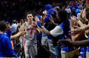 University of Florida Gators guard Egor Koulechov celebrates the Florida Gators 81-74 win over Vanderbilt- Florida Gators basketball- 1280x852