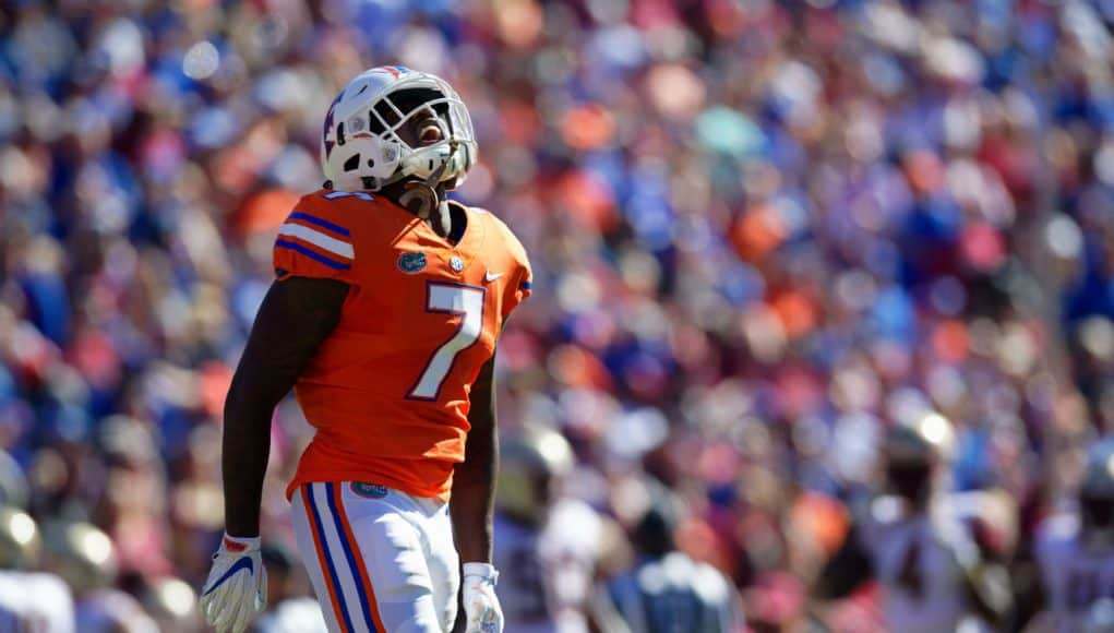 University of Florida defensive back Duke Dawson reacts to a pass breakup against Florida State- Florida Gators football- 1280x853