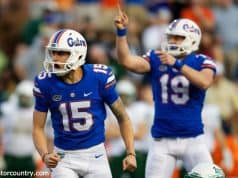 University of Florida kicker Eddy Pineiro and punter Johnny Townsend celebrate a field goal against the Michigan Wolverines- Florida Gators football- 1280x853