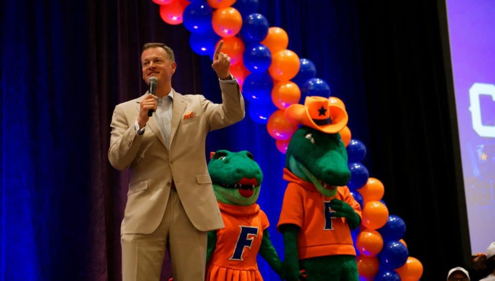 University of Florida athletic director Scott Stricklin speaks to Gator fans in Dallas prior to the Florida Gators game against Michigan- Florida Gators football- 1280x854