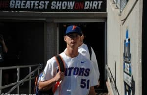 Brady Singer walks into TD Ameritrade before the Florida Gators game against the TCU Horned Frogs- Florida Gators baseball- 1280x850
