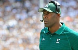 Eastern Michigan Eagles head coach Ron English looks on during the first quarter against the Penn State Nittany Lions at Beaver Stadium. (Photo: Matthew O'Haren, USA TODAY Sports)