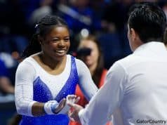 Florida Gators Gymnastics celebrate against Alabama- 1280x853