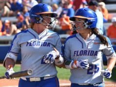 Florida Gators softball players Kayli Kvistad and Janell Wheaton during the Maryland game- 1280x852