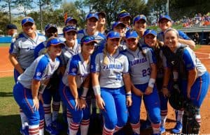 Florida Gators softball team before the Maryland game in 2018- 1280x853