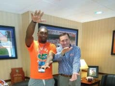 Florida Gators linebacker commit Jammal Abrams with Dan Mullen-768x1024