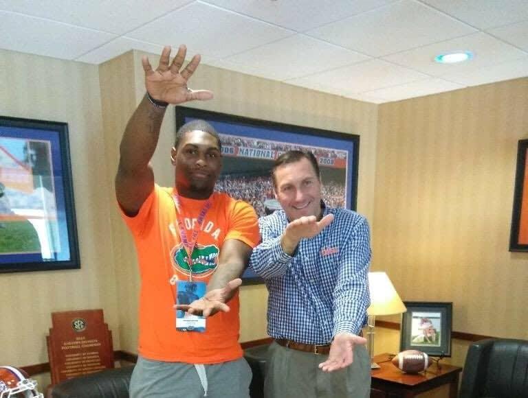 Florida Gators linebacker commit Jammal Abrams with Dan Mullen-768x1024