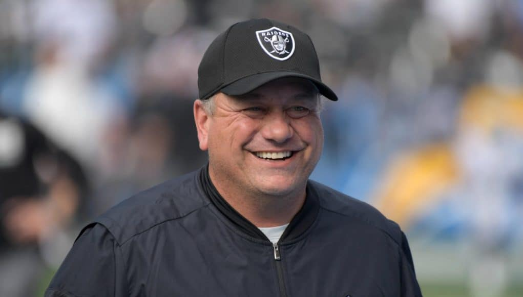 Dec 31, 2017; Carson, CA, USA; Oakland Raiders linebackers coach Sal Sunseri reacts during an NFL football game against the Los Angeles Chargers at StubHub Center. Mandatory Credit: Kirby Lee-USA TODAY Sports