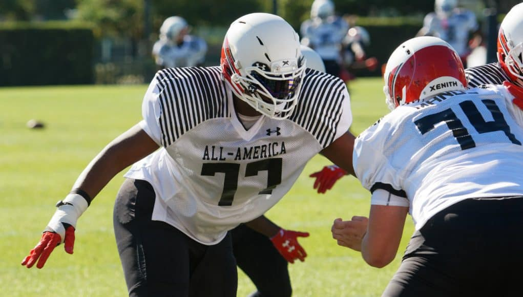 University of Florida Gators recruit offensive tackle Richard Gouraige during the first day of practice for the 2017 Under Armour All-America- Florida Gators recruiting- 1280x854