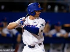 University of Florida infielder Jonathan India in his stance during the Florida Gators 2018 season opener against Siena- Florida Gators baseball- 1280x853