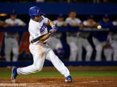 University of Florida outfielder Nick Horvath singles against Siena on opening night of the 2018 baseball season- Florida Gators baseball- 1280x853
