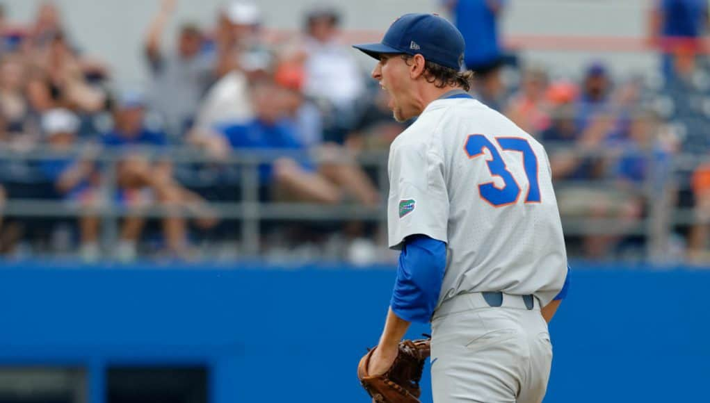 University of Florida pitcher Jackson Kowar reacts after ending the fourth inning with a strikeout against Wake Forest in the Gainesville Super Regional- Florida Gators baseball- 1280x852