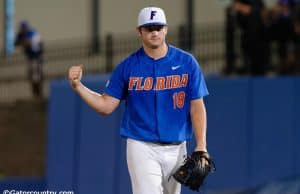 University of Florida pitcher Tyler Dyson walks off the mound after a strikeout against Wake Forest in the Super Regional- Florida Gators baseball- 1280x852