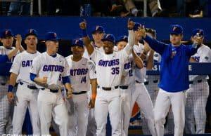 Andrew Baker and the Florida Gators baseball team celebrate a run scored in the season opener against Siena- Florida Gators baseball- 1280x853