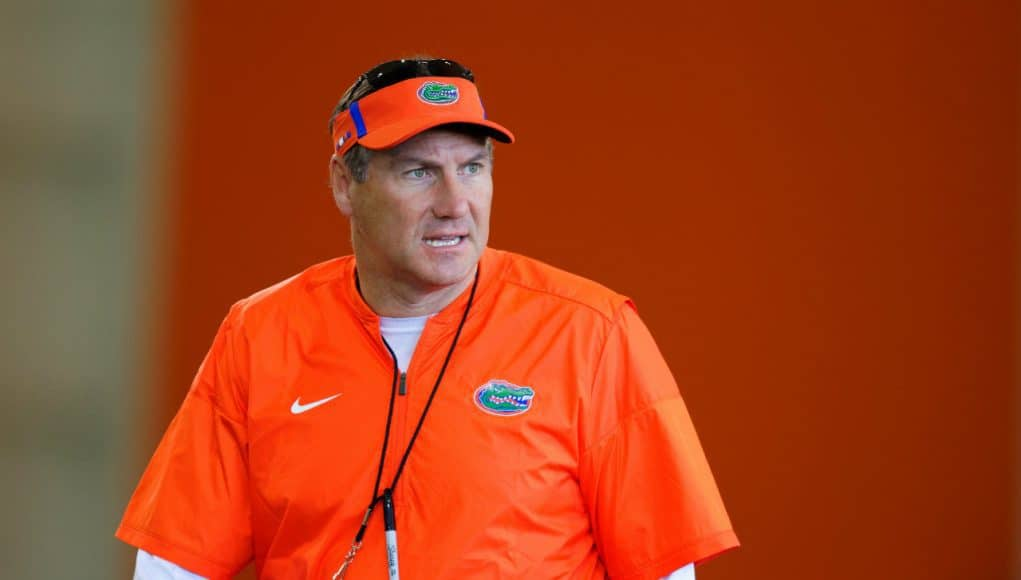 Florida Gators Head Coach Dan Mullen at spring practice 2018- 1280x853