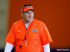 Florida Gators Head Coach Dan Mullen at spring practice 2018- 1280x853
