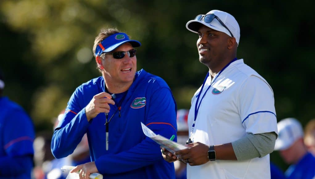 Florida Gators head coach Dan Mullen and quarterbacks coach Brian Johnson- 1280x853
