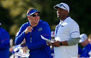 Florida Gators head coach Dan Mullen and quarterbacks coach Brian Johnson- 1280x853