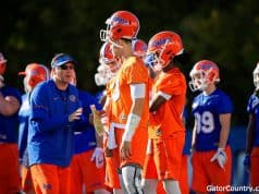 Florida Gators head coach Dan Mullen talks to the quarterbacks- 1280x853