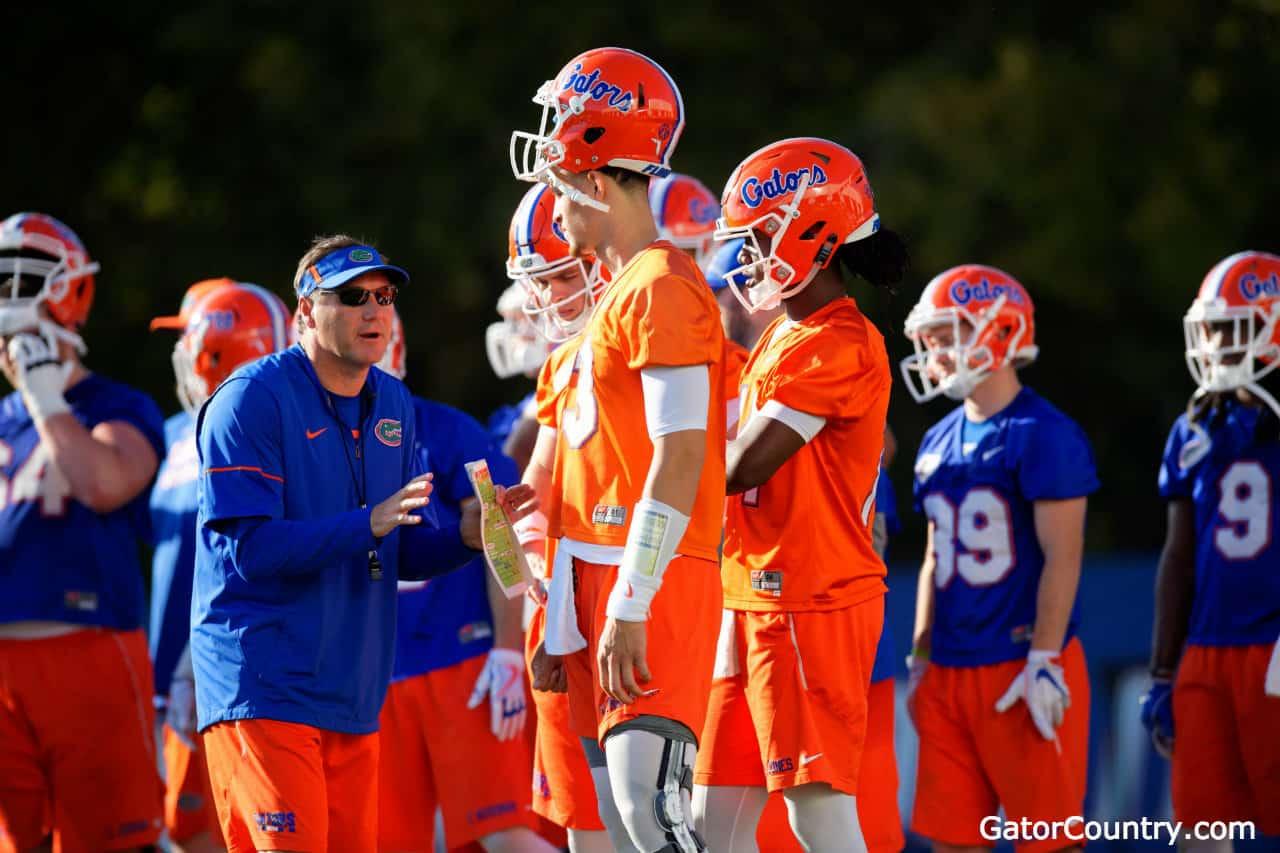 Florida-gators-head-coach-dan-mullen-talks-to-the-quarterbacks