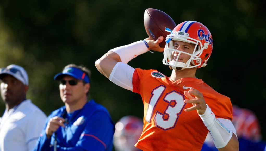 Florida Gators quarterback Feleipe Franks throws in spring practice 2018-1280x853
