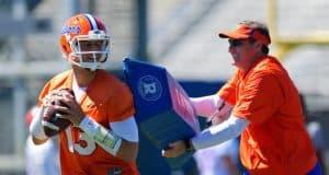 Florida Gators quarterback Feleipe Franks works with head coach Dan Mullen at spring practice- 1280x853