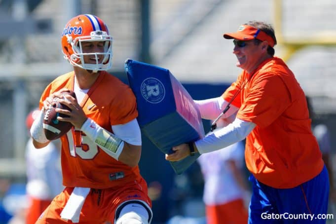 Florida Gators quarterback Feleipe Franks works with head coach Dan Mullen at spring practice- 1280x853