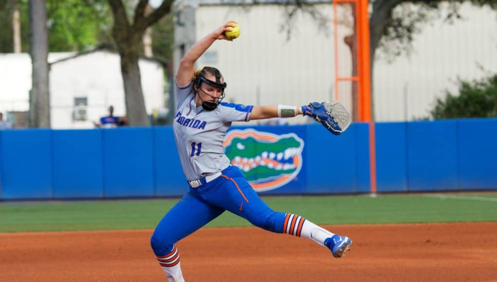 Florida Gators softball pitcher Kelly Barnhill pitches against Iowa State- 1280x853