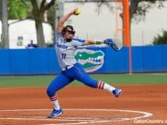 Florida Gators softball pitcher Kelly Barnhill pitches against Iowa State- 1280x853