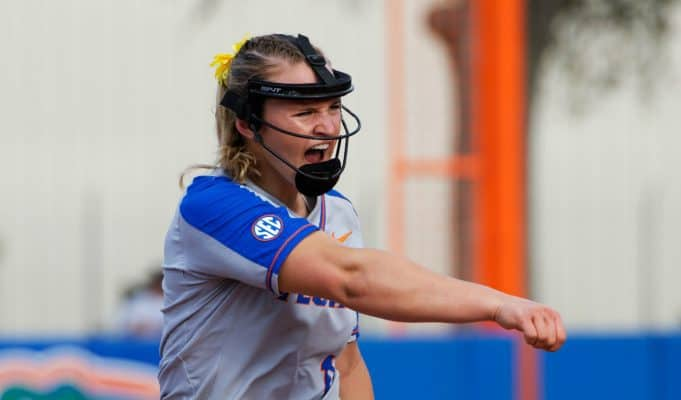 Florida Gators softball pitcher Kelly Barnhill pitches against Maryland in 2018- 1280x853