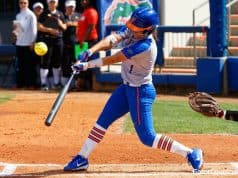 Florida Gators softball player Hannah Adams hits against Maryland in 2018-1280x853