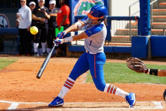 Florida Gators softball player Hannah Adams hits against Maryland in 2018-1280x853
