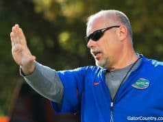 Offensive line coach John Hevesy during Florida Gators spring practice 2018-1280x853