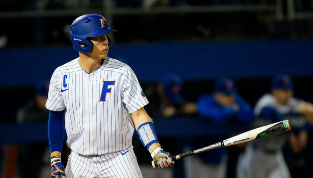 University of Florida catcher JJ Schwarz gets ready in the box in a home win over the Florida State Seminoles- Florida Gators baseball- 1280x853