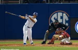 University of Florida first baseman Keenan Bell doubles home two runs to give Florida a 7-4 lead over FSU- Florida Gators baseball- 1280x853