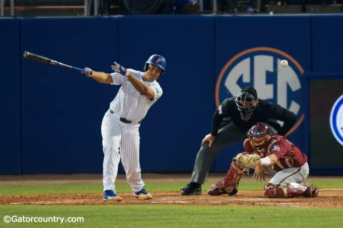 University of Florida first baseman Keenan Bell doubles home two runs to give Florida a 7-4 lead over FSU- Florida Gators baseball- 1280x853
