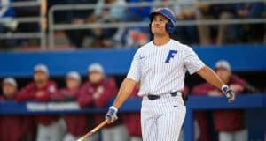 University of Florida first baseman Keenan Bell reacts after striking out against the Florida State Seminoles- Florida Gators baseball- 1280x853