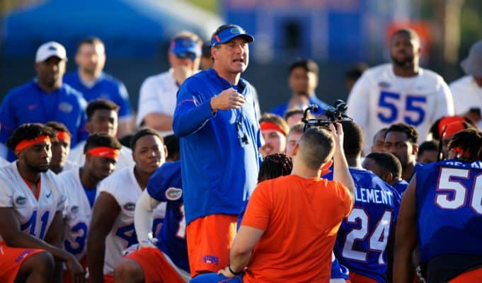 University of Florida head coach Dan Mullen address his football team after the first spring practice of camp- Florida Gators football- 1280x853