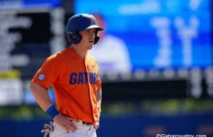 University of Florida infielder Deacon Liput on second base during a win over the Miami Hurricanes- Florida Gators baseball- 1280x852