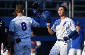 University of Florida infielder Jonathan India celebrates with Deacon Liput after a solo home run in the second inning against FSU- Florida Gators baseball- 1280x853