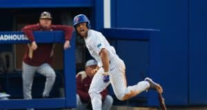 University of Florida outfielder Nelson Maldonado celebrates running to first after a single against Florida State- Florida Gators baseball- 1280x853