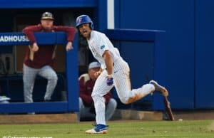 University of Florida outfielder Nelson Maldonado celebrates running to first after a single against Florida State- Florida Gators baseball- 1280x853
