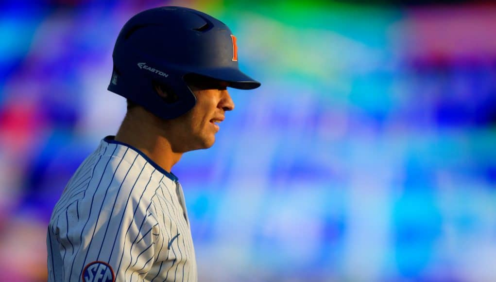 University of Florida outfielder Wil Dalton on second base after a double against the Florida State Seminoles- Florida Gators baseball- 1280x853