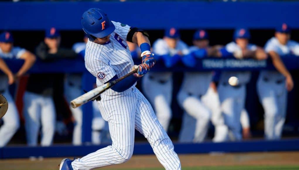 University of Florida outfielder Wil Dalton singles against the Florida State Seminoles- Florida Gators baseball- 1280x853