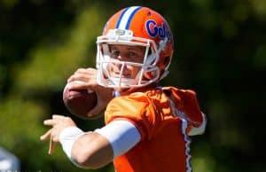 University of Florida quarterback Feleipe Franks throws a pass during the Florida Gators first practice this spring- Florida Gators football- 1280x853