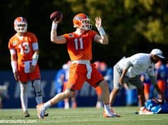 University of Florida quarterback Kyle Trask throws a pass during the Florida Gators first practice of spring- Florida Gators football- 1280x853