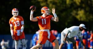 University of Florida quarterback Kyle Trask throws a pass during the Florida Gators first practice of spring- Florida Gators football- 1280x853